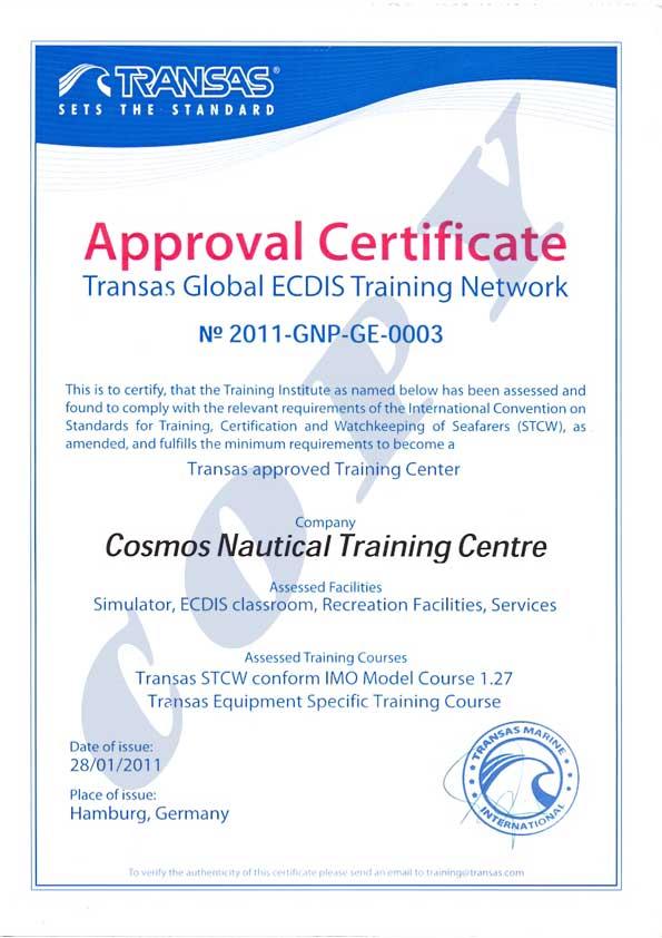 Cosmos Nautical Training Centre :: Recognized Certificates